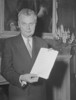 "Original title:  Prime Minister John G. Diefenbaker with ""Bill of Rights""."