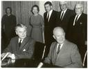 Original title:    Description English: John Diefenbaker and Dwight Eisenhower at the signing of the Columbia River Treaty, January 1961 Date January 1961 Source Rt. Hon. John G. Diefenbaker Centre, Saskatoon, Canada - Diefenbaker Centre image number: JGD 6880 Photo office image number: 6265 C Author White House Photo Office