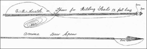 Titre original :  Shanawdithit's Sketch of Beothuk Spears, ca. 1823-29. Drawing by Shanawdithit. Courtesy of Library and Archives Canada (C-028544), Ottawa, Ontario.