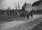 Original title:  (W.W.I - 1914 - 1918) 72nd Inf. Bn marching past Gen Currie ohain Belgium. April 1919.
