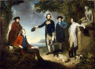 "Titre original :    Description Captain James Cook, Sir Joseph Banks, Lord Sandwich, Dr Daniel Solander and Dr John Hawkesworth. Oil on canvas, 120 x 166 cm. By John Hamilton Mortimer. (Title devised by cataloguer). The people portrayed are, from left to right, Dr Daniel Solander, Sir Joseph Banks, Captain James Cook, Dr John Hawkesworth, and John Montagu, 4th Earl of Sandwich. Date 1771(1771) Source National Library of Australia (NLA) digital collections: http://nla.gov.au/nla.pic-an7351768 In publishing this image on their website, the NLA request that users cite the artist, title, the National Library of Australia as the custodian of the original work and their catalogue reference number. Readers of Wikipedia will see there is an ""imagemap"" for this picture which links the people in the painting to their respective biographies in Wikipedia. Author John Hamilton Mortimer (1740-1779). Previously a"