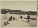 Titre original :  Photograph Building an igloo, Little Whale River, QC, 1874 James Laurence Cotter 1874, 19th century Silver salts on paper mounted on card - Albumen process 12 x 17 cm Gift of Mrs. D. A. Murray MP-0000.391.4 © McCord Museum Keywords:  Ethnology (606) , Inuit (216) , Photograph (77678)