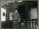 Original title:  Canada's Prime Minister William Lyon Mackenzie King waves from the observation platform as he leavesto attend the San Francisco Conference .