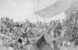 Titre original :  Crowfoot addressing the Marquis of Lorne; pow-wow at Blackfoot Crossing, Bow River, September 10, 1881.