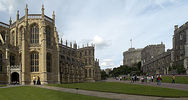 Titre original :  Windsor Castle, The Lower Ward (l to r), St George's Chapel, the Lady Chapel, the Round Tower, the lodgings of the Military Knights, and the residence of the Governor of the Military Knights.