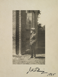 Original title:  Photograph of James Henry Fleming standing outside, date and photographer unknown, signed by J.H. Fleming 1925. Courtesy of the Royal Ontario Museum, © ROM