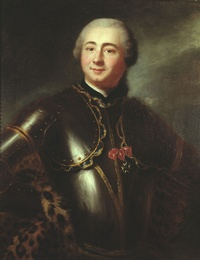 Titre original :    Artist Anonymous Title Marquis de Boishébert — Charles Deschamps de Boishébert et de Raffetot (1727–1797) Description The Marquis de Boishébert was born in Quebec and a successful military man. He was made a knight of the Order of Saint Louis in 1758. The painting's cross of that Order was added after the painting was executed by an unknown French artist in Quebec. McCord Museum's examination of the painting under ultra-violet light reveals that area to be overpainted, thus putting the painting's origin before 1758.[1] Date circa 1753(1753) Medium oil on canvas Dimensions 81.7 × 65.5 cm (32.2 × 25.8 in) Current location McCord Museum of Canadian History Quebec, Canada Accession number M967.48 Object history Purchased from Mme Roch Rolland in 1967[1] Source/Photographer This image is available from the McCord Museum under the access number M967.48 This tag does not indicate the c