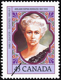 Original title:  Adelaide Sophia Hoodless, 1857-1910, family educator = Adelaide Sophia Hoodless, 1857-1910, éducatrice familiale [philatelic record].  Philatelic issue data Canada : 43 cents