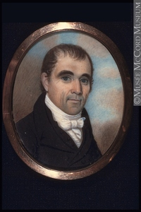 Titre original :  Painting, miniature Portrait of the Honorable Robert Thorpe (about 1764-1836) Anonyme - Anonymous 1800-1850, 19th century Watercolour, gouache and arabic gum on ivory 6 x 4.7 cm M22349 © McCord Museum Keywords:  male (26812) , Painting (2229) , painting (2226) , portrait (53878)