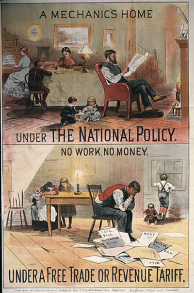 Titre original :  MIKAN 2897713 MIKAN 2897713: « A Mechanic's Home Under the National Policy - No work, No Money Under a Free Trade or Revenue Tariff » :  1891 [57 KB, 319 X 480]