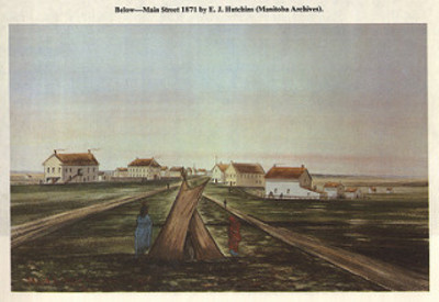 Titre original :  Main Street 1871 by E.J. Hutchins (1970) | by Manitoba Historical Maps