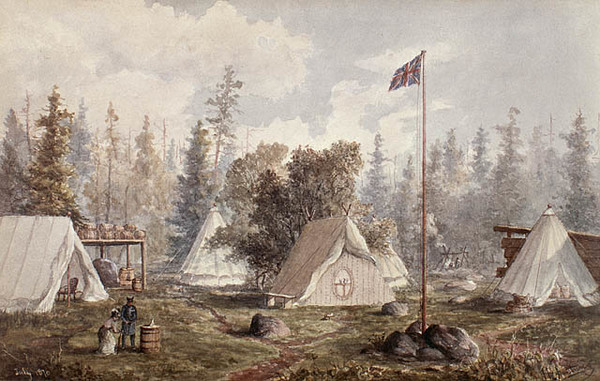 Titre original :  MIKAN 2833387 Red River Expedition, Colonel Wolseley's Camp, Prince Arthur Landing on Lake Superior,. July 1870 [68 KB, 640 X 406]