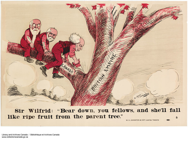 Titre original :  MIKAN 2999867 Sir Wilfrid: Bear Down, You Fellows, and She'll Fall Like Ripe Fruit from the Parent Tree. ca. 1911. [287 KB, 1000 X 753]