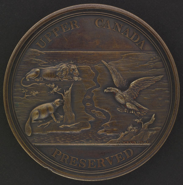 "Titre original :  Loyal and Patriotic Society of Upper Canada ""Upper Canada Preserved"" Medal, intended for Veterans of the War of 1812."