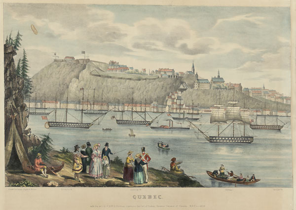 Titre original :  MIKAN 3020669 : Quebec with the Arrival of HMS hastings conveying the Earl of Durham, Governor General of Canada, May 1838.